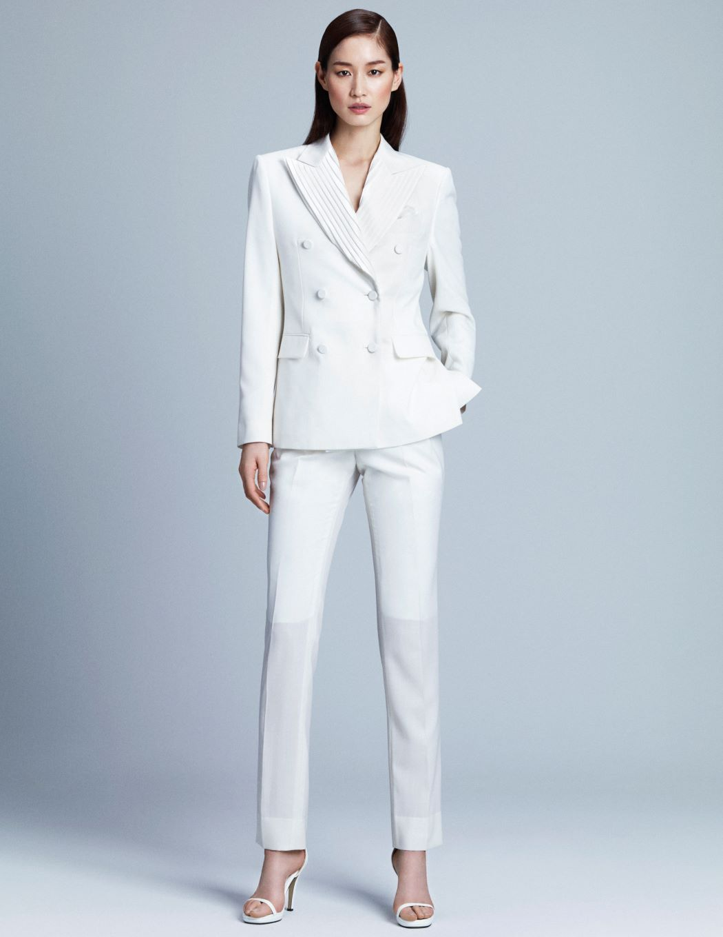 WHITE PLEATED LAPEL JACKET