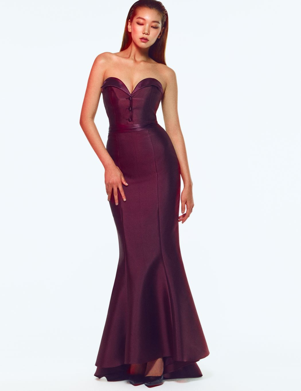BURGUNDY PEAKED LAPEL BUSTIER-DRESS