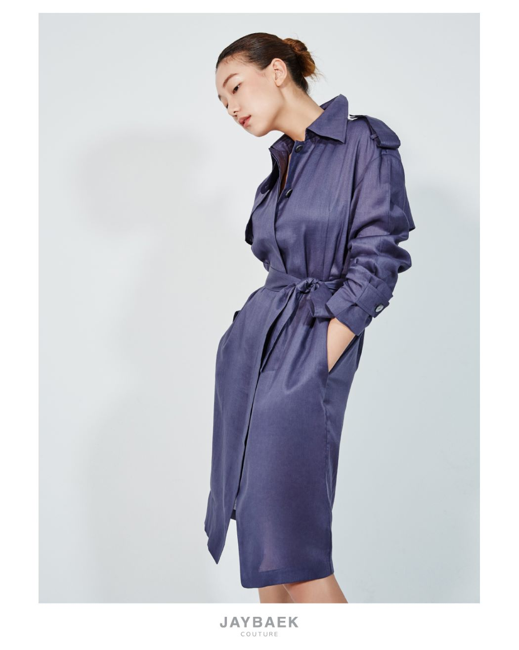 VIOLET LINEN TRENCH COAT DRESS