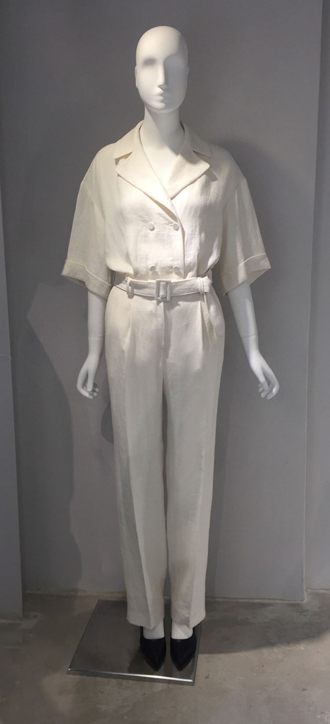 WHITE LINEN BELTED PANTS
