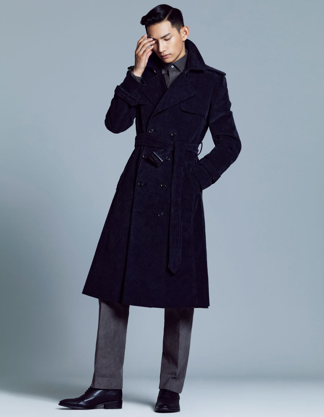 NAVY CORDUROY TRENCH COAT