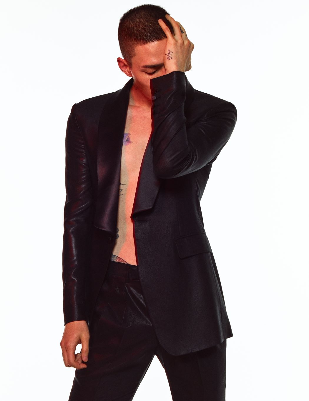 BLACK SILK SHAWL COLLAR TUXEDO JACKET