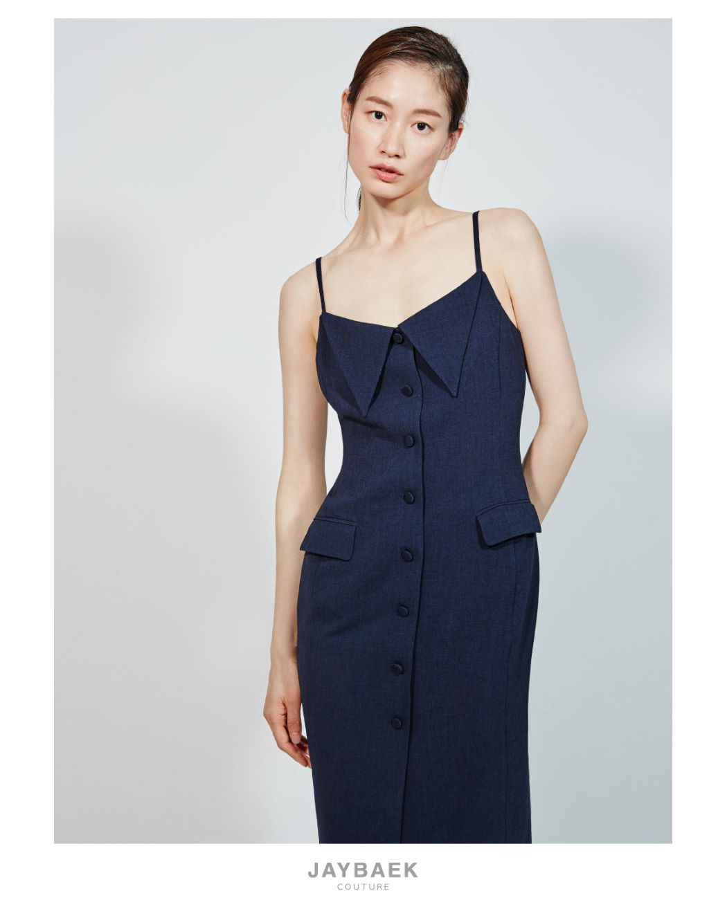NAVY LINEN COLLAR SLIP DRESS